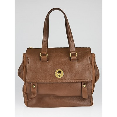 Yves Saint Laurent Brown Leather and Canvas Muse Two Bag