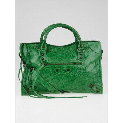 Balenciaga Vert Gazon Chevre Leather Motorcycle City Bag