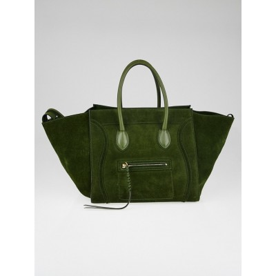 Celine Green Suede Medium Phantom Luggage Tote Bag