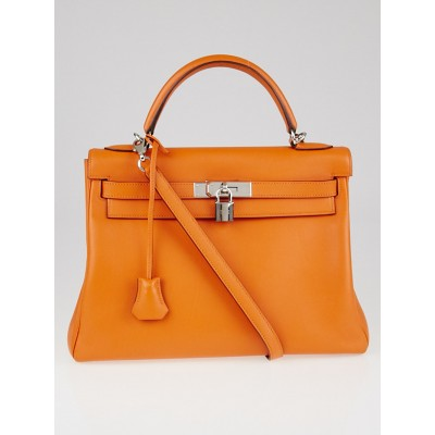 Hermes 32cm Orange Swift Leather Palladium Plated Kelly Retourne Bag