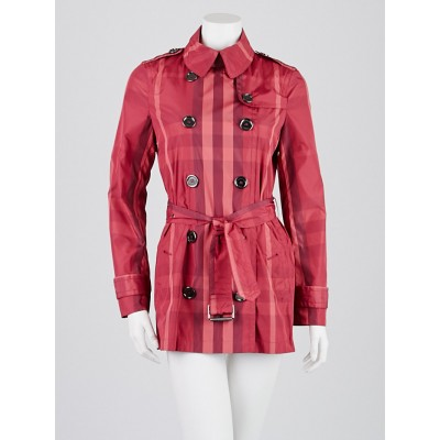 Burberry Brit Pink Check Polyester Trench Coat Size 4