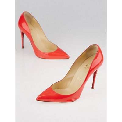 Christian Louboutin Poppy Patent Leather Pigalle Follies 100 Pumps Size 8.5/39