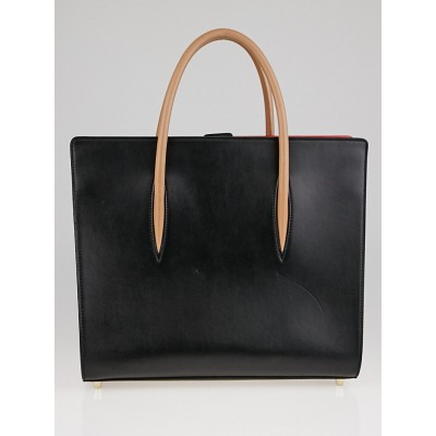 Christian Louboutin Black/Brown Calf and Patent Leather Paloma Medium Triple-Gusset Tote Bag