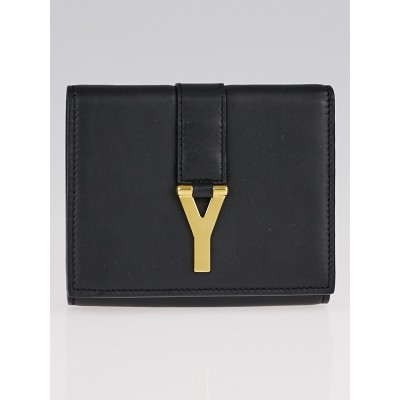 Yves Saint Laurent Black Smooth Leather Y Compact Wallet