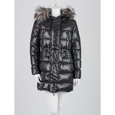 Moncler Black Nylon Quilted Down and Fox Fur Hooded Coat Size 2/M