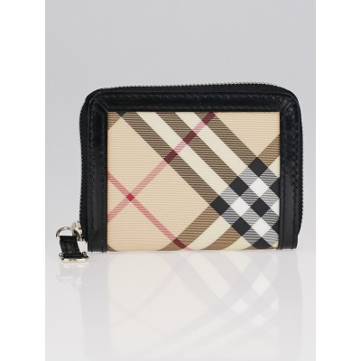 Burberry Haymarket Check Coated Canvas Compact Zip Wallet