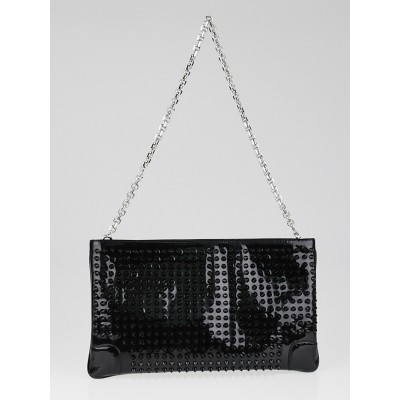 Christian Louboutin Black Patent Leather Loubiposh Spiked Clutch Bag