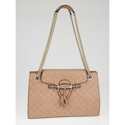 Gucci Light Pink Guccissima Leather Emily Original Chain Large Shoulder Bag