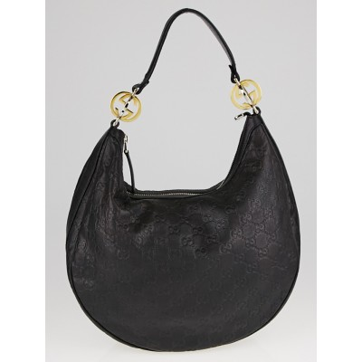 Gucci Black Guccissima Leather GG Twins Medium Hobo Bag