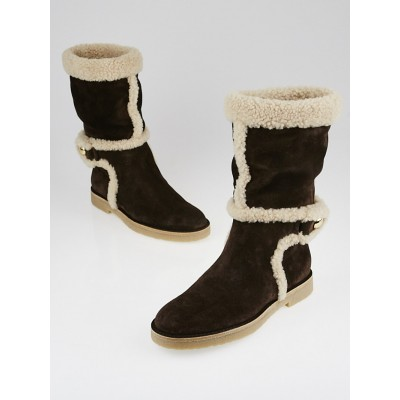 Louis Vuitton Brown Suede and Shearling Snowy Flat Boots Size 6/36.5