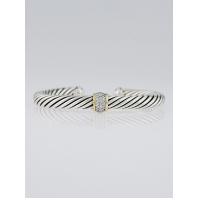 David Yurman 7mm Sterling Silver and Diamonds Cable Classic Bracelet