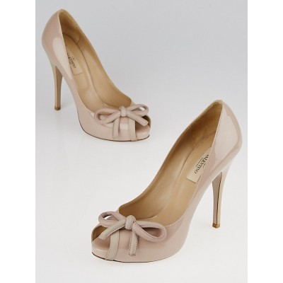 Valentino Beige Patent Leather Bow Peep Toe Pumps Size 6.5/37