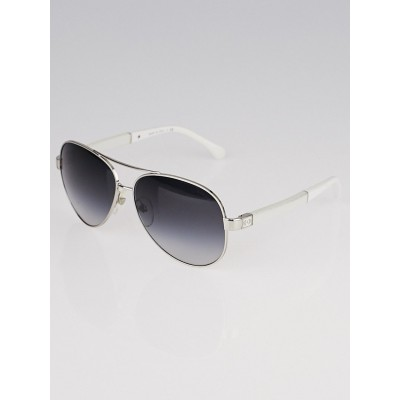 Chanel Silver/White Metal Frame Rimless Aviator Sunglasses-4195-Q