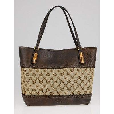 Gucci Beige/Ebony GG Canvas and Leather Bamboo Tote bag