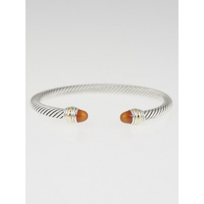 David Yurman 5mm Sterling Silver and 14k Gold Carnelian Cable Classics Bracelet