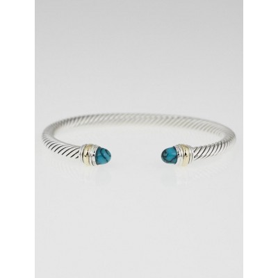 David Yurman 5mm Sterling Silver and 14k Gold Turquoise Cable Classics Bracelet