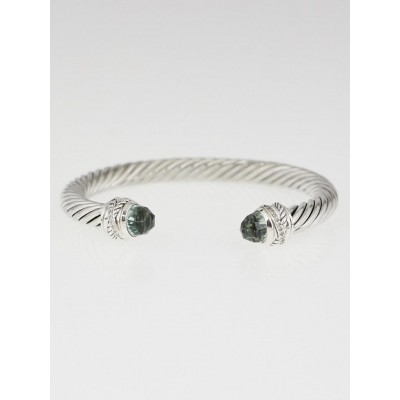 David Yurman 7mm Sterling Silver and Prasiolite with Diamonds Cable Classics Bracelet