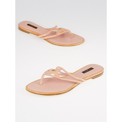 Louis Vuitton Pink Patent Leather Thong Sandals Size 8.5/39
