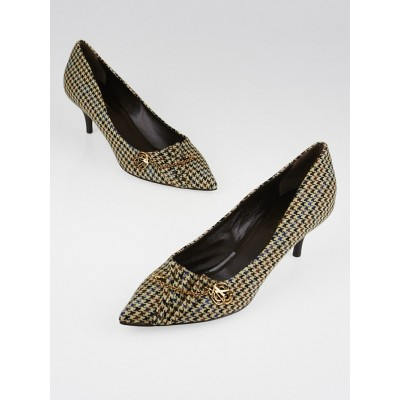 Louis Vuitton Brown Houndstooth Flannel Pumps Size 8.5/39