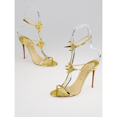 Christian Louboutin Gold Leather Lady Max Spike 100 Sandals Size 9/39.5