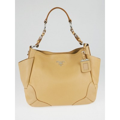 Prada Tan Vitello Daino Leather Pocket Tote Bag BR3793