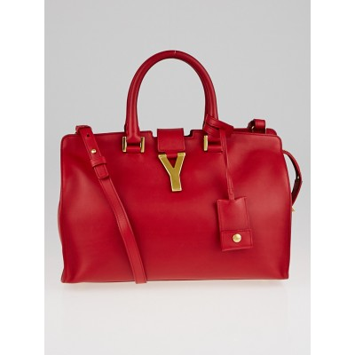Yves Saint Laurent Red Smooth Calfskin Leather Small Cabas ChYc Bag