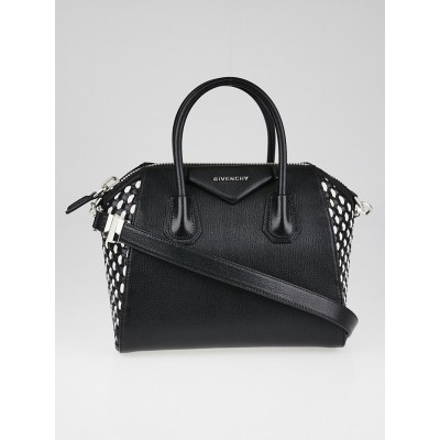 Givenchy Black Sugar Goatskin Woven Leather Small Antigona Bag