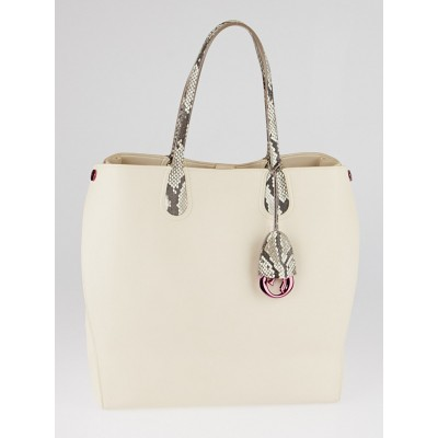 Christian Dior White Calfskin/Python Dior Addict Shopping Tote Vertical Bag