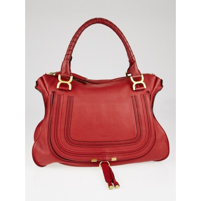 Chloe Vermillion Pebbled Leather Large Marcie Satchel Bag