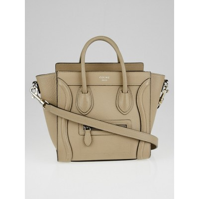 Celine Beige Drummed Calfskin Leather Nano Luggage Tote Bag