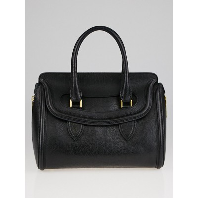 Alexander McQueen Black Grained Leather Small Heroine Bag