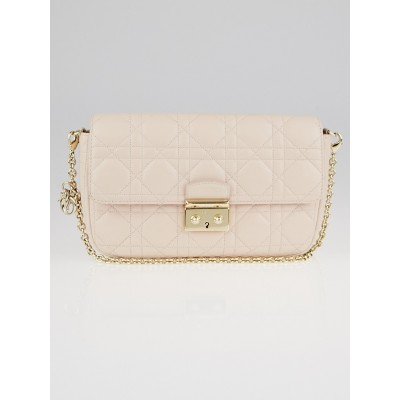 Christian Dior Pale Pink Cannage Quilted Lambskin Leather Miss Dior Small Flap Bag