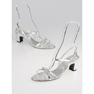 Chanel Silver Leather Open-Toe Strappy Sandals Size 9/39.5