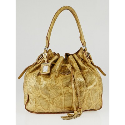 Prada Pitone Oro Python Cinch Shoulder Bag BR3544