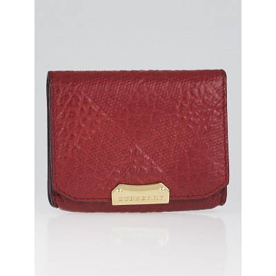 Burberry Red Embossed Check Leather Card Case Wallet