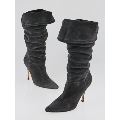 Manolo Blahnik Grey Suede Slouchy Boots Size 6/36.5