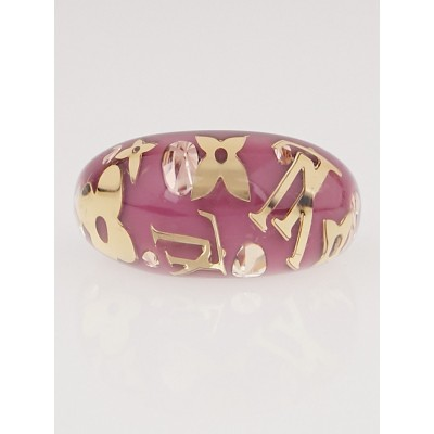 Louis Vuitton Framboise Resin Monogram Inclusion Ring Size M/6.5