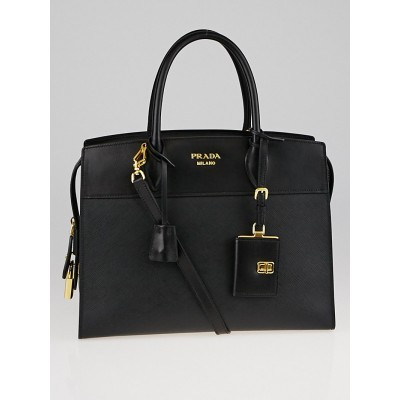 Prada Black Saffiano and City Calf Leather Zip Tote Bag 1BA047