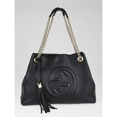 Gucci Black Pebbled Leather Soho Chain Tote Bag