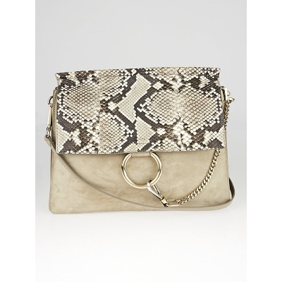 Chloe Motty Grey Suede and Python Medium Faye Shoulder Bag