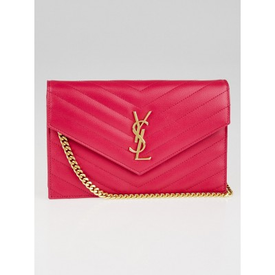 Yves Saint Laurent Fuchsia Matelasse Quilted Grained Leather Envelope Chain Wallet Bag