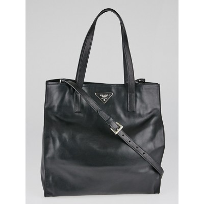 Prada Black Soft Calfskin Leather Tote Bag BR5030