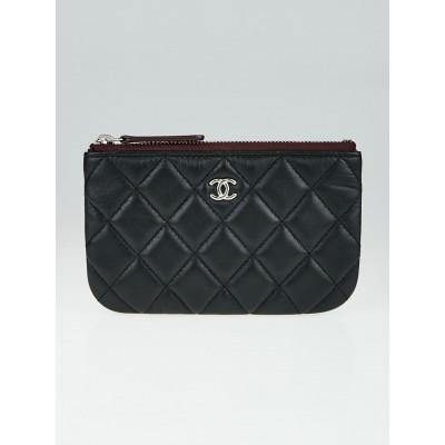 Chanel Black Quilted Lambskin Leather Zip Coin Pouch