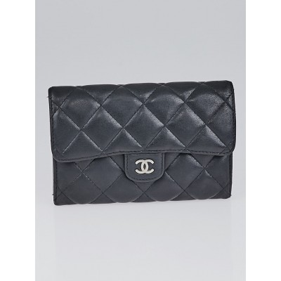 Chanel Black Quilted Lambskin Leather Small Flap Wallet