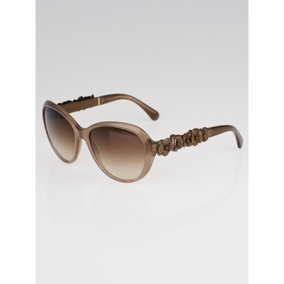 Chanel Brown Cat-Eye Frame and Leather Camellia Sunglasses-5316