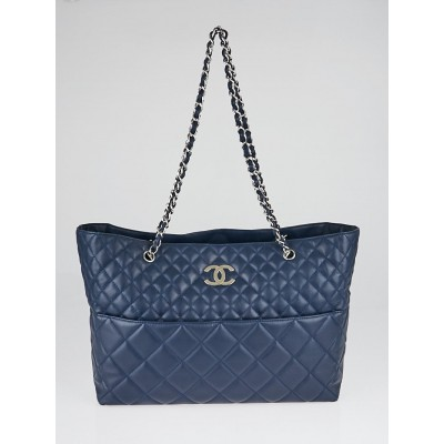 Chanel Blue Quilted Leather In The Business Large Tote Bag