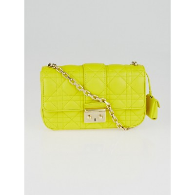 Christian Dior Yellow Cannage Quilted Lambskin Leather Small Miss Dior Bag