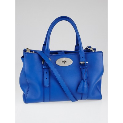 Mulberry Bluebell Silky Classic Calf Leather Bayswater Double Zip Tote Bag
