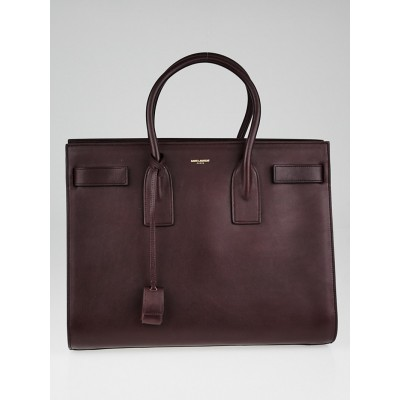 Yves Saint Laurent Burgundy Calfskin Leather Large Sac de Jour Tote Bag
