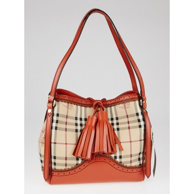 Burberry Tangerine Leather Haymarket Check Coated Canvas Small Canterbury Tote Bag